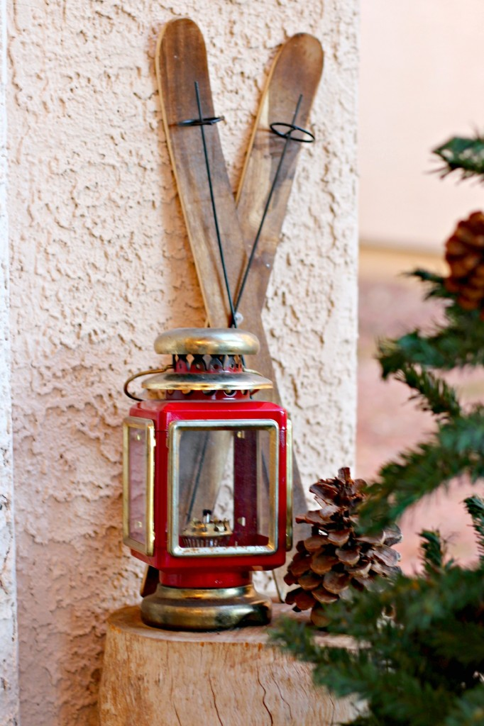2015 Christmas Porch lantern and skis
