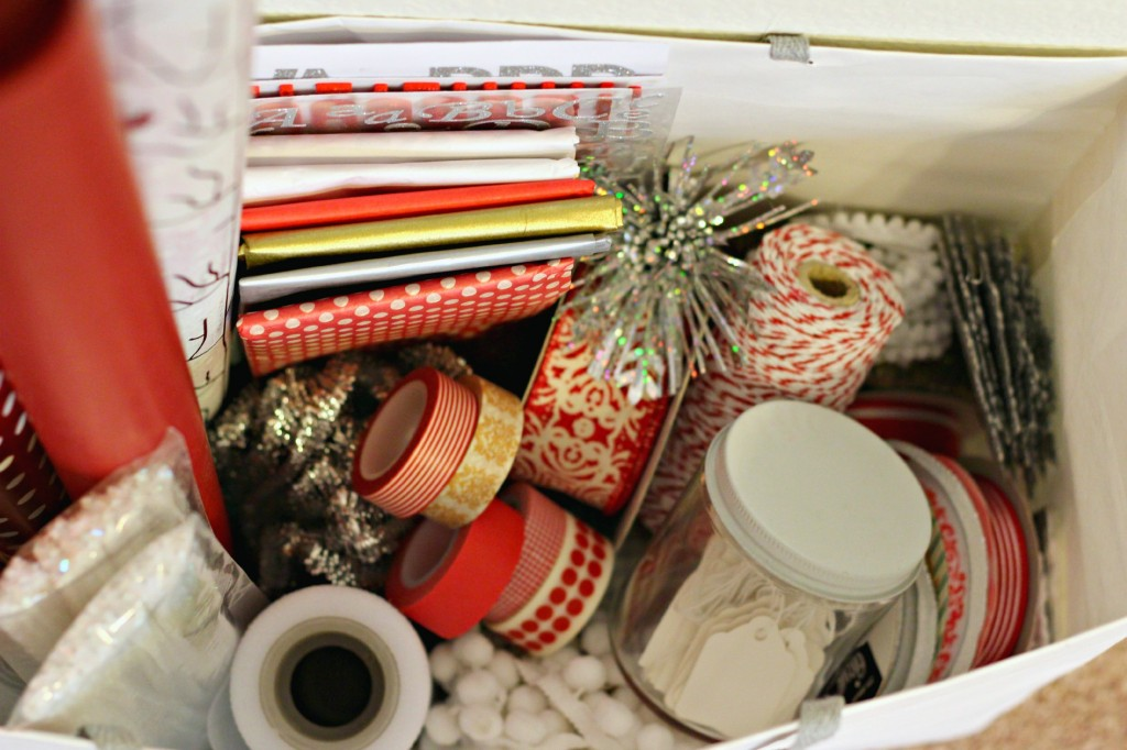 Gift Wrapping supplies in a bag