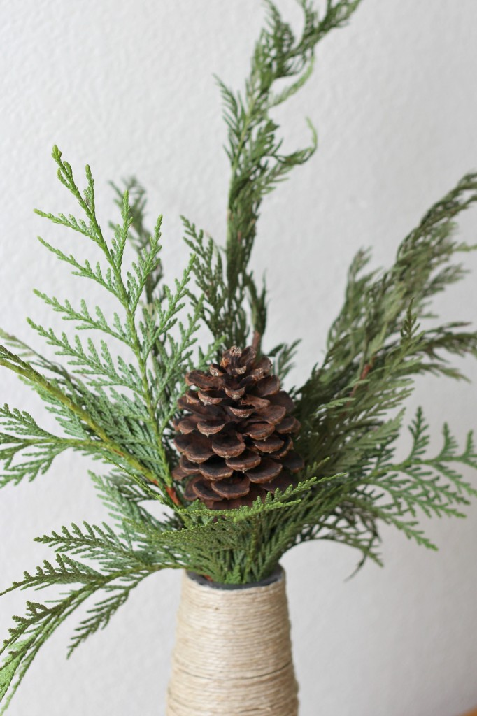 Pine Boughs in twine wrapped vase or jar
