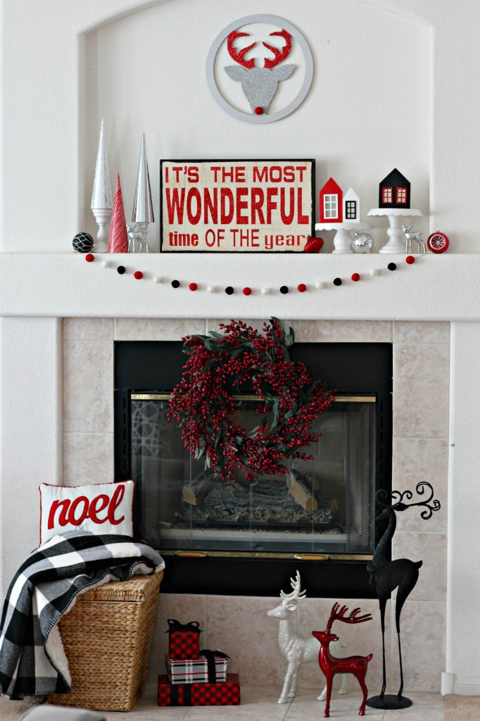 Red, Black, White, Silver Mantel