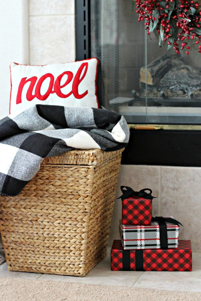 Red and Black mantel pillow and blanket