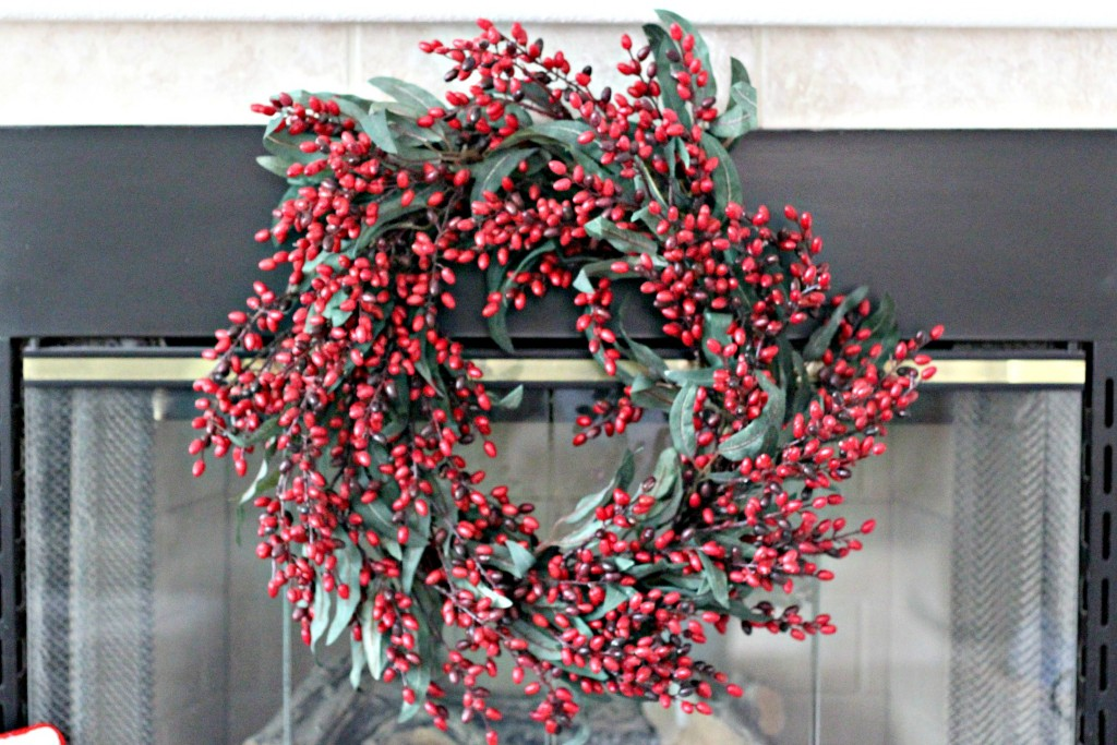 Red and Black mantel wreath