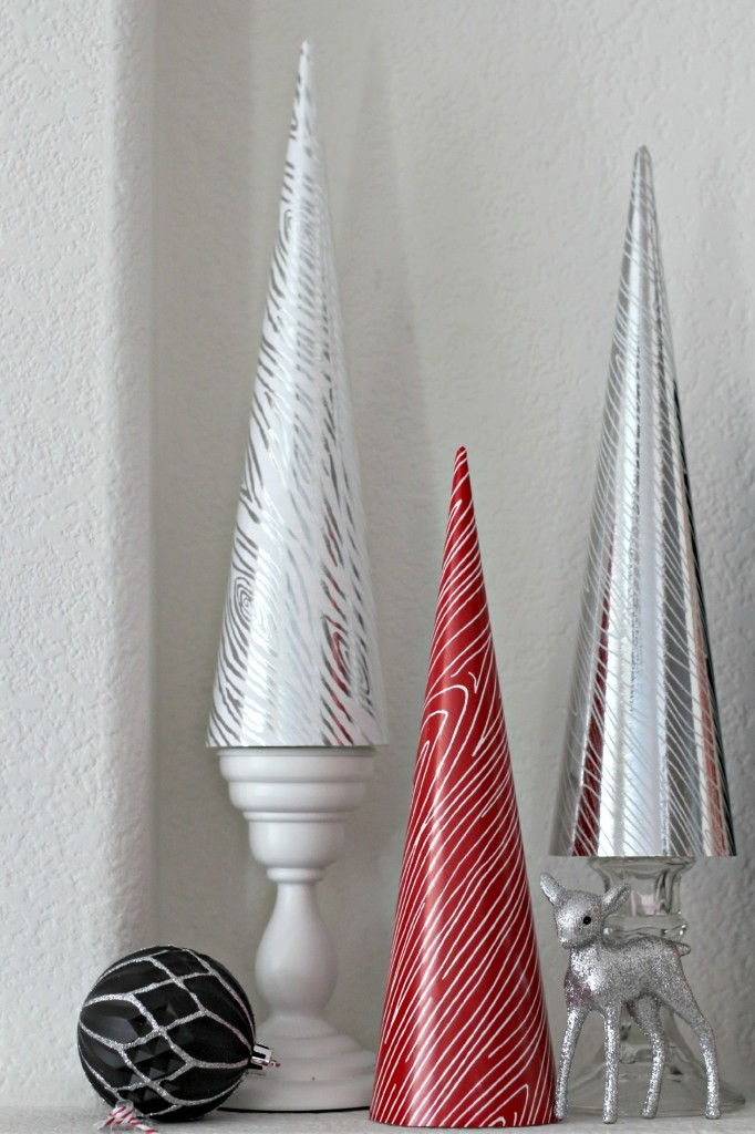 Red and black mantel cone trees