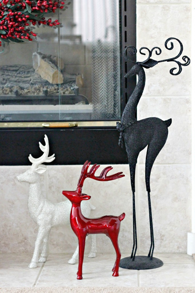 Red and black mantel reindeer