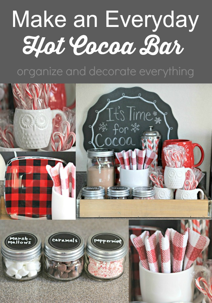 This is a great Everyday Hot Cocoa Bar using things you already have in your home. Bring it all together in a tray so the family can have cocoa anytime they like