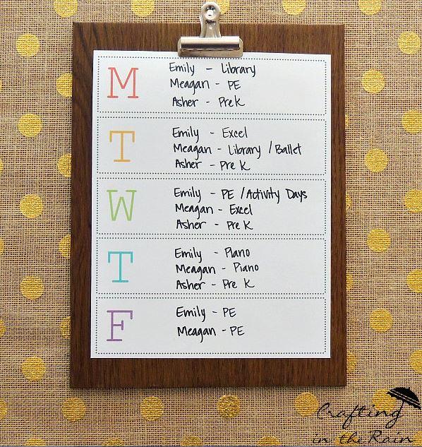 2016 Calendars Crafting in the Rain M-F