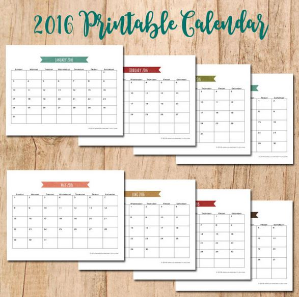 16 free printable calendars for 2016 organize and for Laura dunn minimalist living now