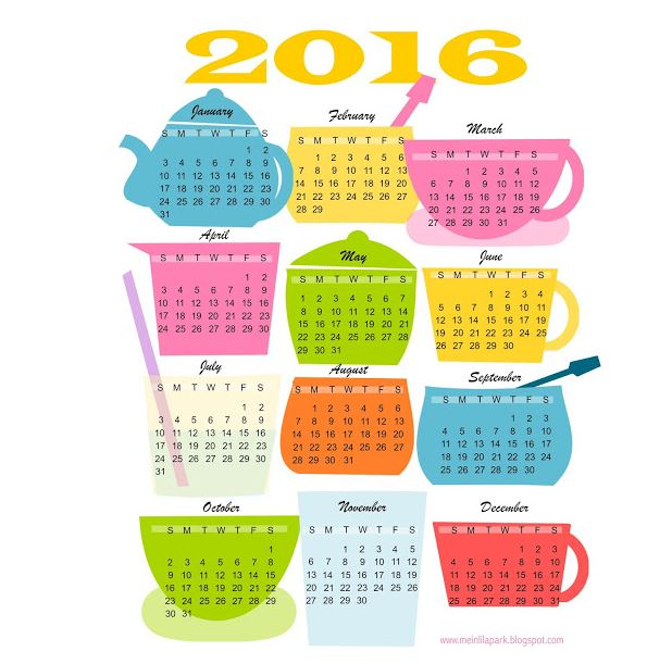 2016 Calendars Mein Lila Park