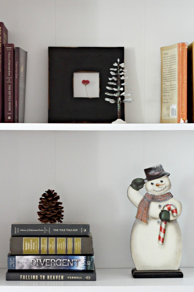 Bookshelf Winter Decor