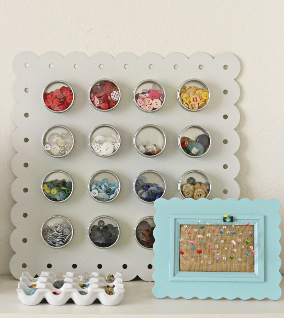 Craft Room Tour Button and Egg Crate Storage