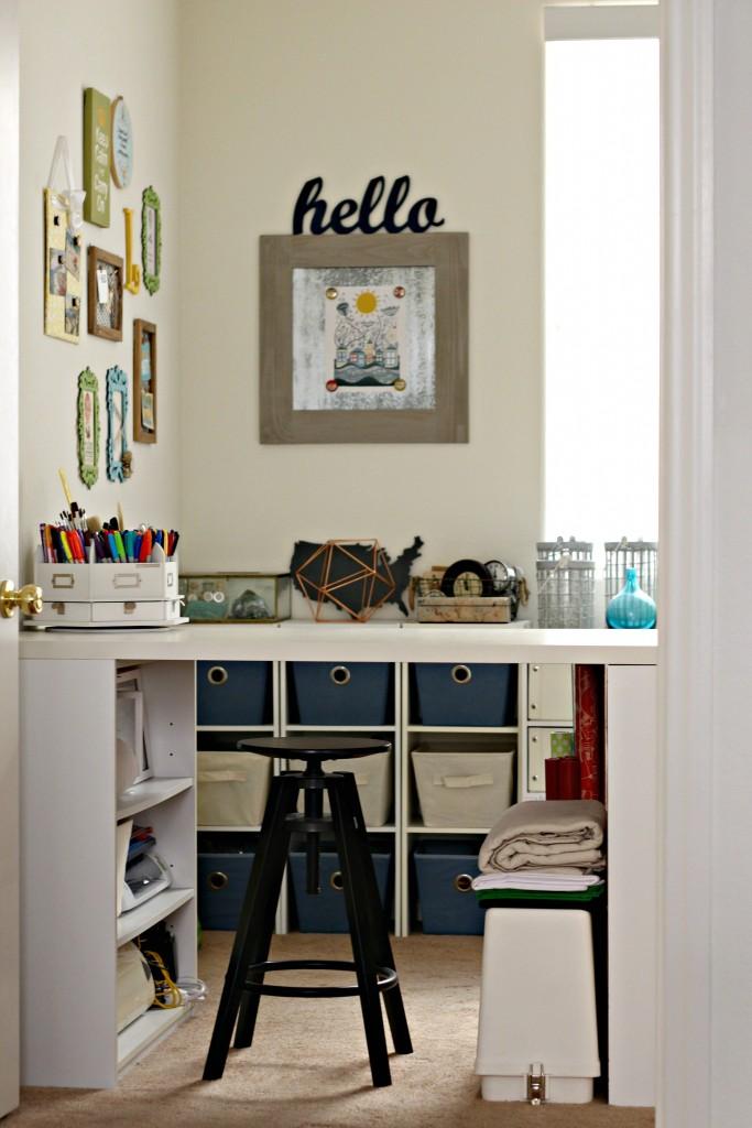 Craft Room Tour Craft Desk and Shelves
