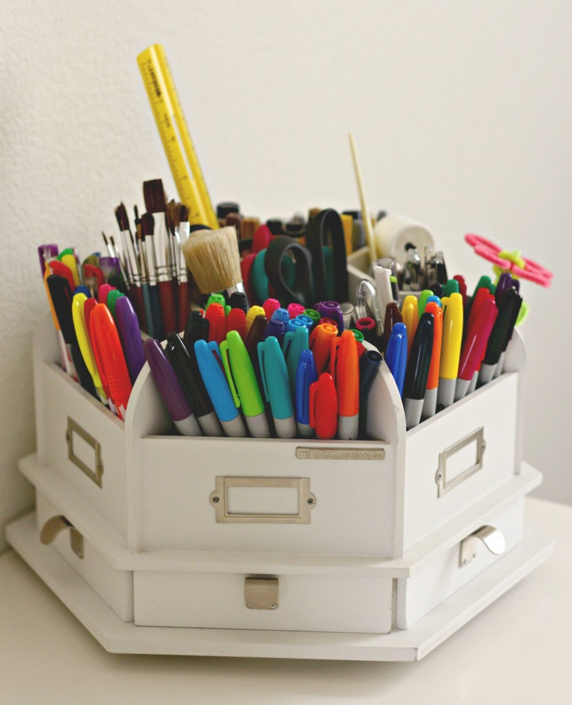 Craft Room Tour Desk Top Storage