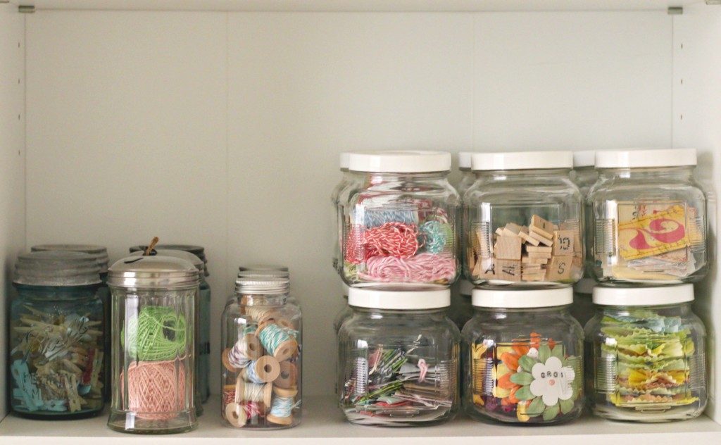 Craft Room Tour Glass Jars