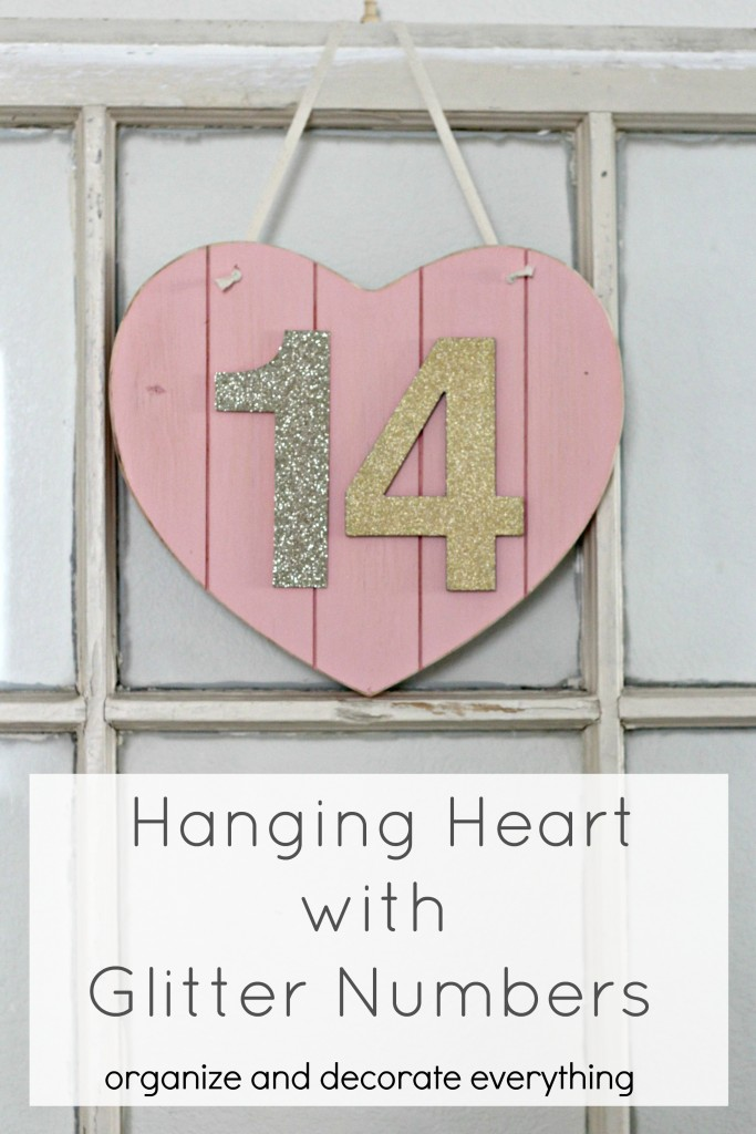Hanging Heart with Glitter Numbers