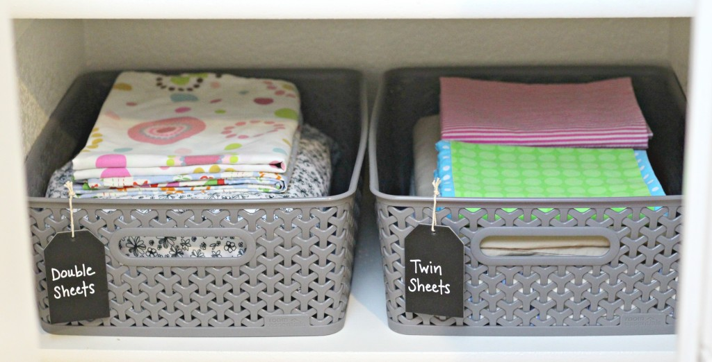 Linen Closet sheet baskets