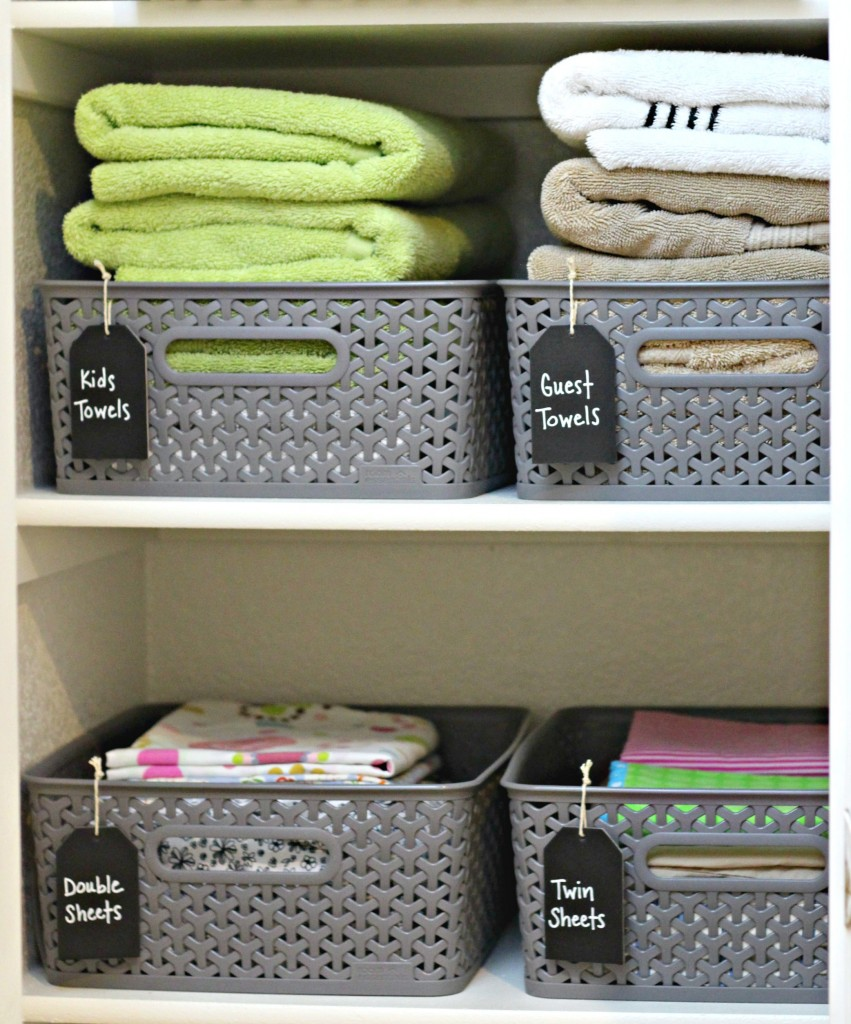 Linen Clost Organizing Baskets with Chalkboard tags