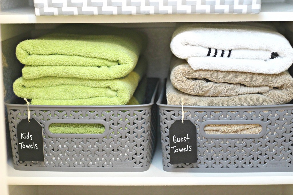 Linen closet guest towels basket