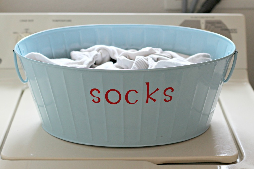 Sock Bucket with vinyl letters