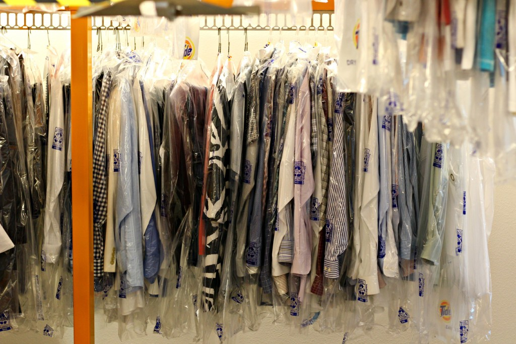 Tide Dry Cleaners clothing rack