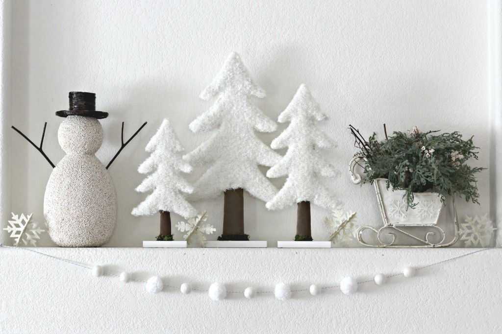 Winter Mantel with Pom Pom Garland