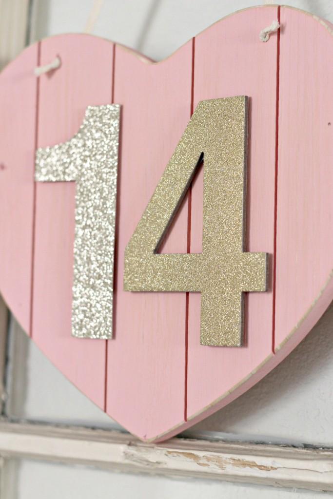 Wood Heart Glitter Numbers