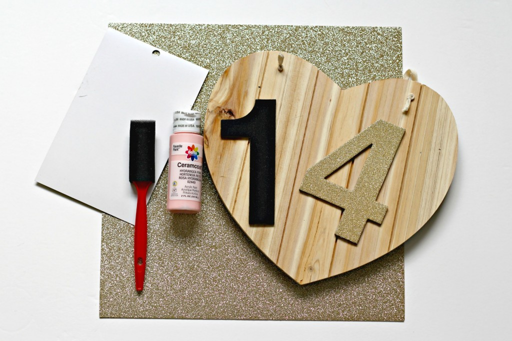 Wood Heart with Glitter Numbers supplies list