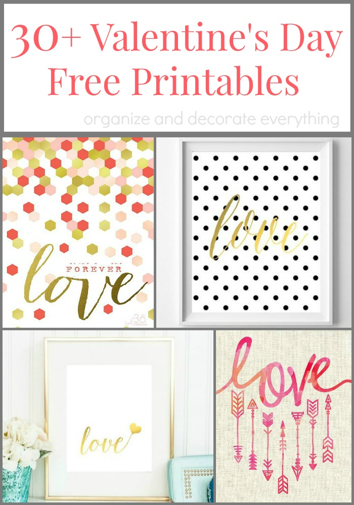 30+ Valentine's Day Free Printables to Decorate Your Home With