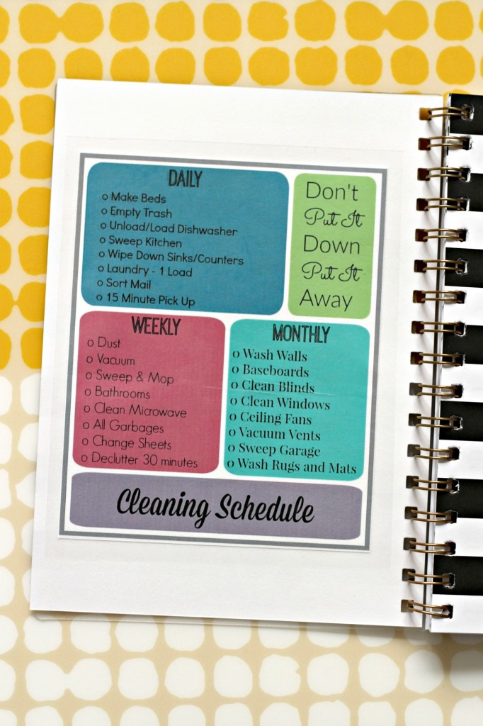 Cleaning Schedule printable in planner