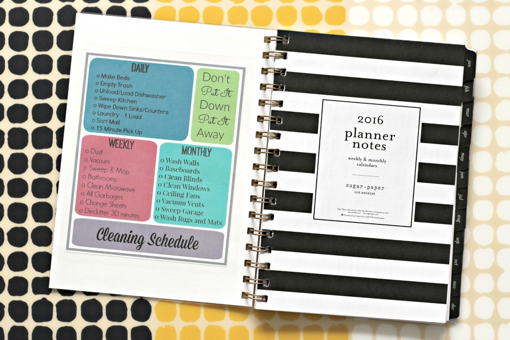 Cleaning Schedule taped in planner