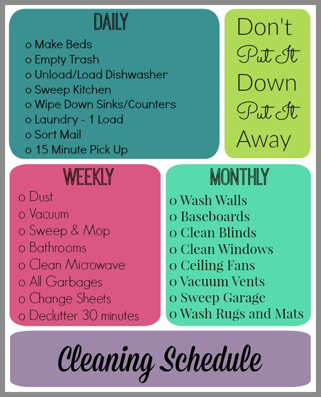 cleaning schedule printable organize and decorate everything