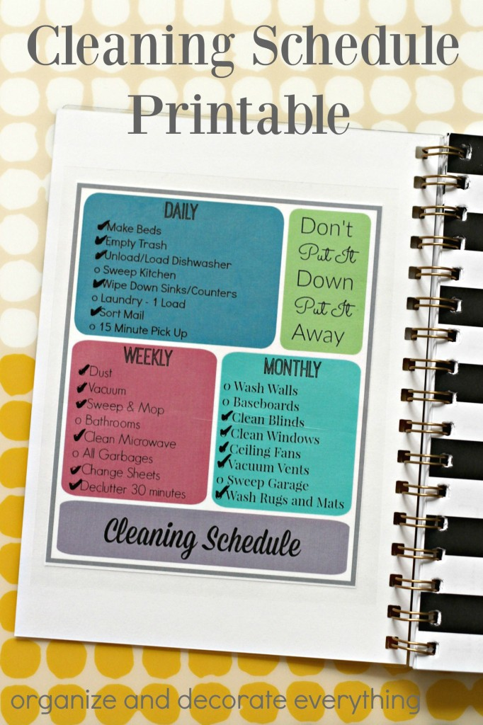 Daily, Weekly, Monthly Printable Cleaning Schedule