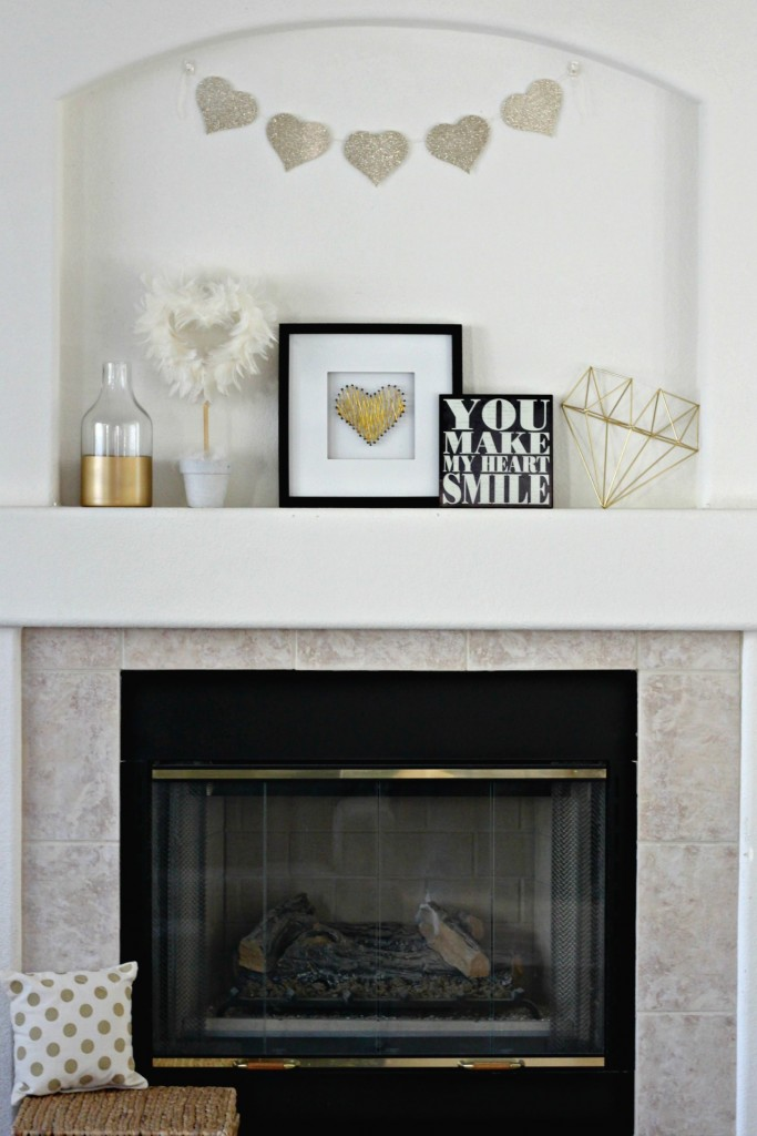 Glitter, Gold, and White Valentine's Day mantel