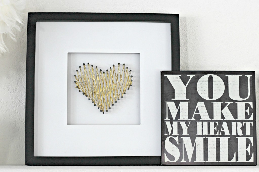 Gold Heart String Art
