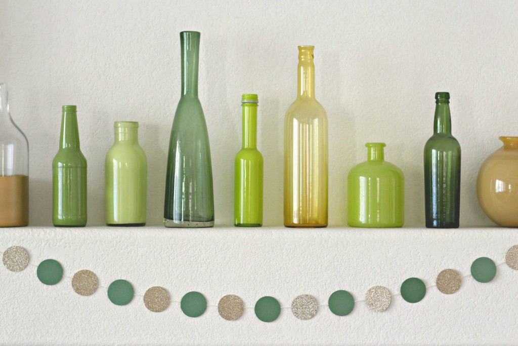 Gold and Green Mantel Bottles and Vases