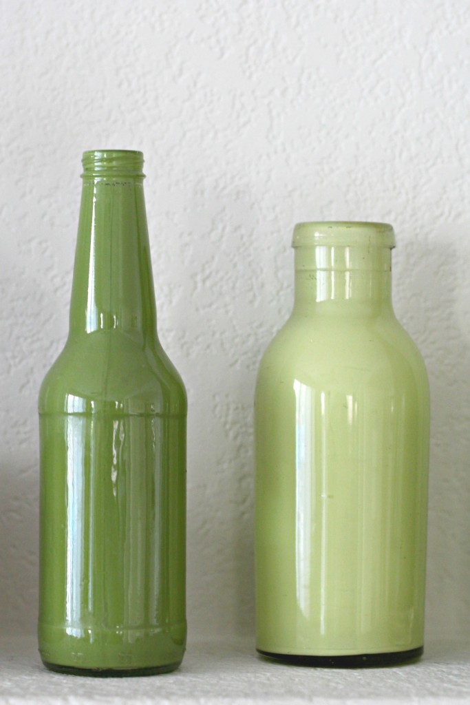 Gold and Green Mantel Painted Bottles