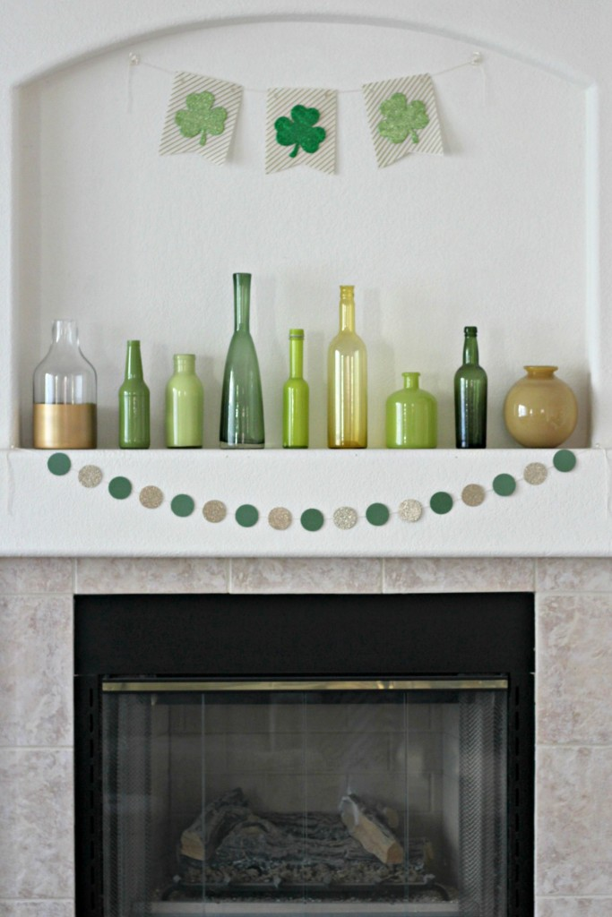 Gold and Green St. Patrick's Day Shamrock Mantel