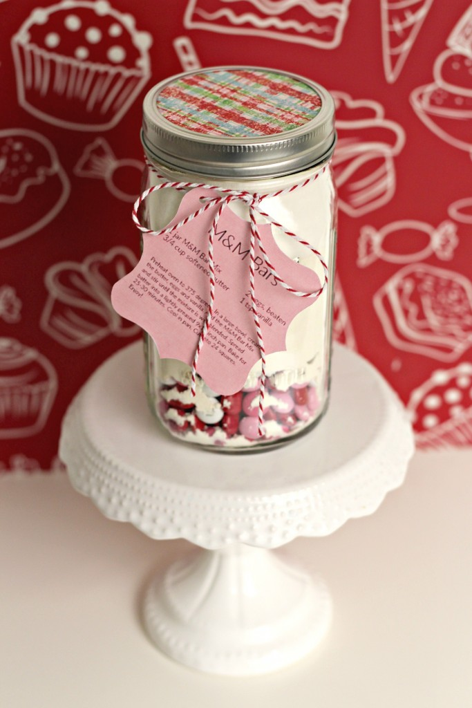 M&M Cookie Bar in a Jar with Gift Tag