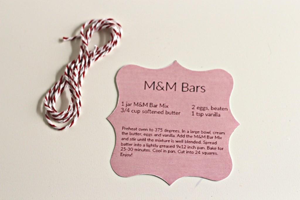 M&M Cookie Bar ingredients tag