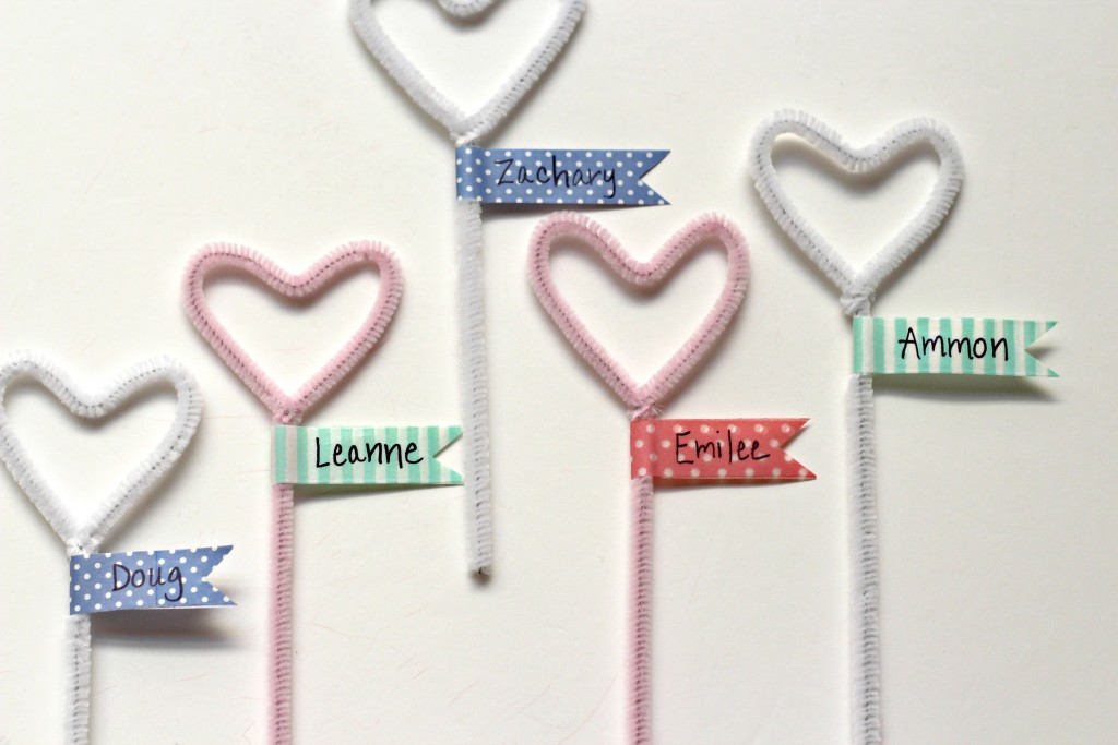 Pipe Cleaner Hearts with Washi Tape Flags