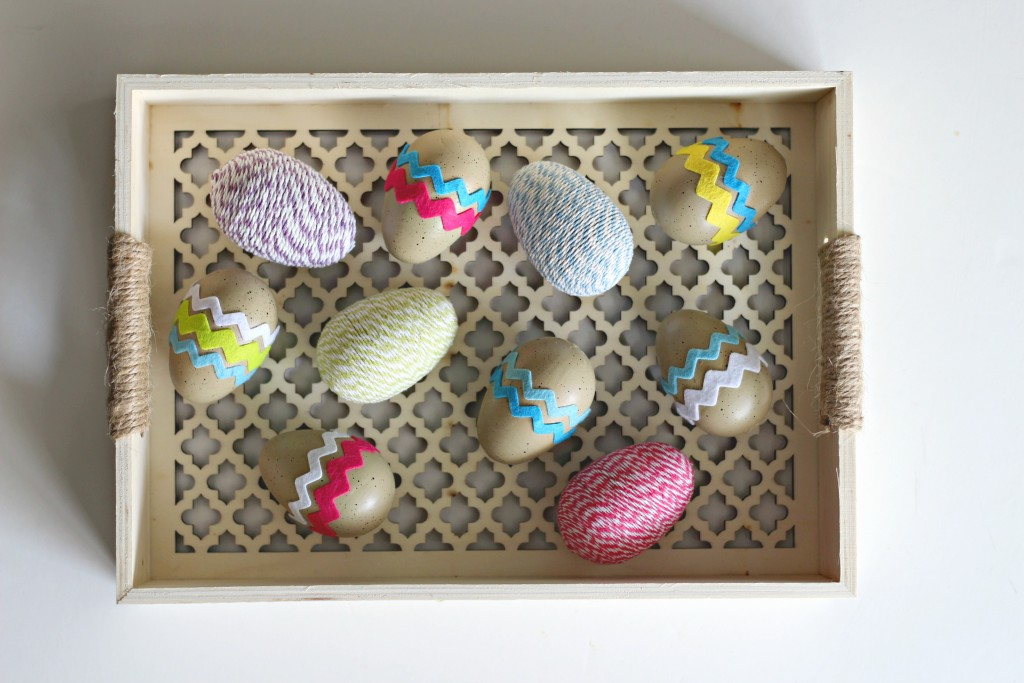 Decorated Easter Eggs in lattice tray