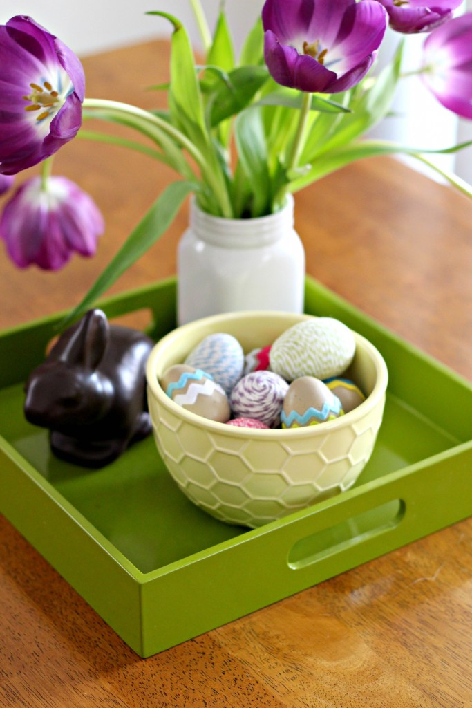 Decorated Easter Eggs in tray