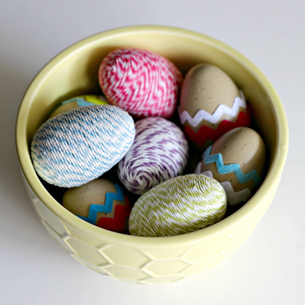 Decorated Easter Eggs twine wrapped and felt