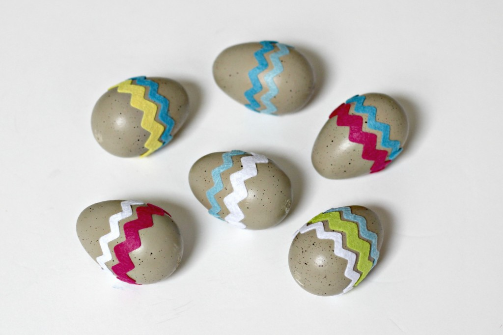 Decorated Easter Eggs with felt stickers