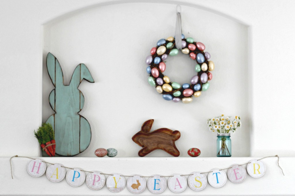 Easter Bunny Mantel with Egg Wreath