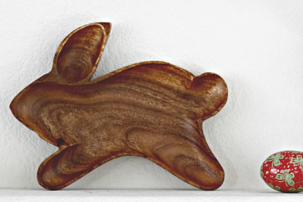 Easter Mantel Natural Wood Bunny