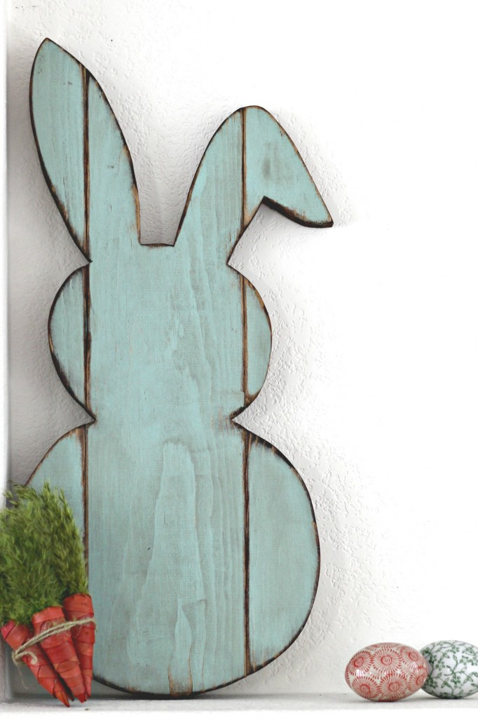 Easter Mantel Wood Bunny