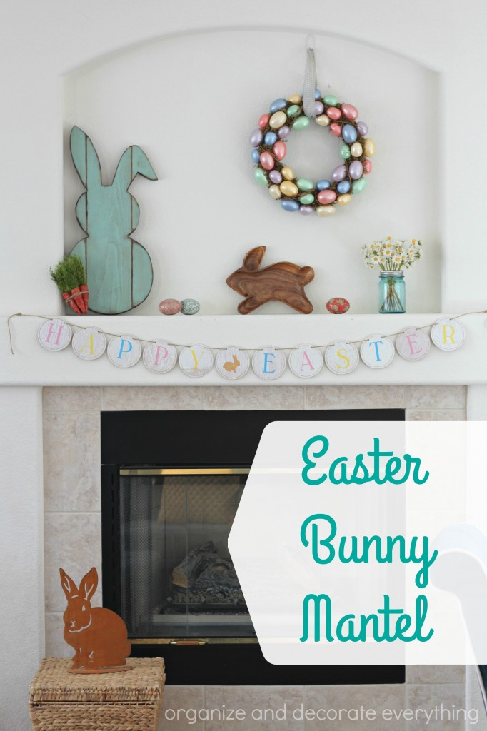 Simple Easter Egg and Bunny Mantel