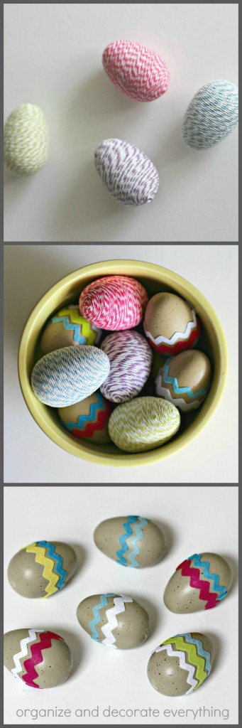 Twine and Felt Decorated Wood Eggs