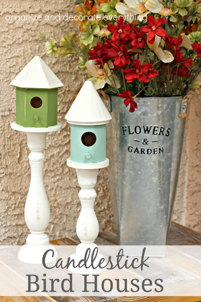 Candlestick Bird Houses are the perfect Spring and Summer decor inside and out