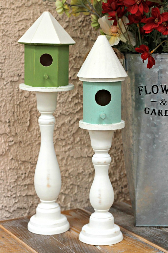 Candlestick Bird Houses assembled